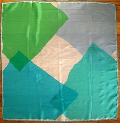 Blue and Green Off-Kilter Squares, c1960-1980s, Vera Neumann, silk scarf with rolled edges, USA