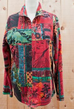 Chicos 2 Spa Oriental Theme zipper front Reds multicolor smocked sides and back