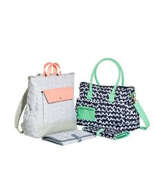 You can take Joy's fun patterns on the go, too. With tons of compartments and pockets for organization and a matching changing mat, these bags have everything a new mom needs. Choose from a backpack or tote design.