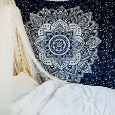 Lady Scorpio | @Ladyscorpio101 ☽☽  ladyscorpio101.com  ☆  Perfect Bedroom Decor for the Hippie at heart  ♡  These Mandala Tapestry decorations are perfect for Christmas and the Holidays for your home | Navy Blue & White or Silver with Canopy & Moon Phase Wall Hanging
