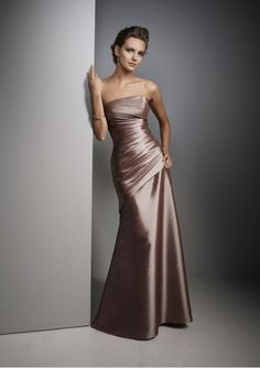 Taffeta Strapless Rouched Bodice with A Line Skirt Bridesmaid Dress