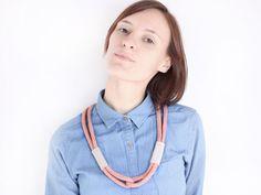 OOAK - Cotton rope necklace in antique pink with von ChezKristel, $30,00    #pink #etsy #chezkristel #altrosa #rose #suede #beige #creme #nature #necklace
