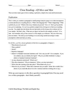 Of Mice and Men: Close Read Analysis Close Reading Strategies, Reading Skills, Teaching Reading, Middle School English, English Class, Ap Language, English Language, Man Close, Adventures Of Huckleberry Finn