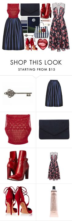 """""""Red + Blue"""" by cherieaustin ❤ liked on Polyvore featuring Tome, Oscar de la Renta, Dorothy Perkins, COSTUME NATIONAL, Lela Rose, Aquazzura, Dolce&Gabbana and Grown Alchemist"""