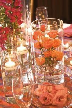 Looking for the perfect wedding centerpiece but don't want to spend your entire budget? Grab a few candles and create these floating candle centerpieces. Floating Candles Wedding, Floating Candle Centerpieces, Floral Centerpieces, Unity Candle, Floral Decorations, Candle Arrangements, Shower Centerpieces, Floral Arrangements, Wedding Decorations