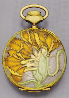 Carnation watch, by René Lalique, circa 1898-1900. Gold, enamel and crystal.