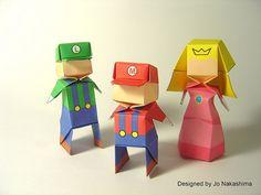 Origami Luigi, Mario and Princess Peach - print and fold with youtube tutorial by Jo Nakashima