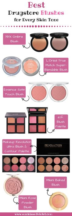 Best Drugstore Blushes for Every Skin Tone: Essence Satin Touch Blush, NYX Ombre Blush, Makeup Revolution Ultra Blush & Contour Palette, L'Oréal True Match Super-Blendable Blush, e.l.f. Blush Palette, Milani Baked Blush, Milani Rose Powder Blush. #cosmetics #makeupreview #drugstoremakeup #makeupswatch #blush #drugstoreblush #bestofdrugstore