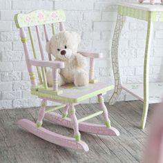 Sweet and elegant, this rocking chair combines classic floral detailing with a traditional gingham pattern; perfect for your little one's room.