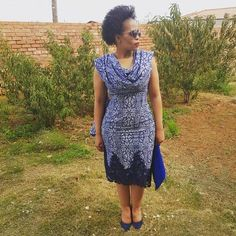 Newest Shweshwe Dresses for modern women, The fashions and styles are assorted and it's affable to s African Traditional Dresses, Traditional Wedding Dresses, Seshweshwe Dresses, Summer Dresses, African Print Fashion, Ethnic Fashion, Womens Fashion, African Attire, African Dress