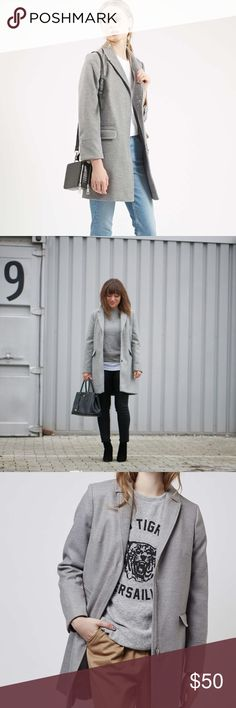 """TOPSHOP Slim Pocket Coat in Grey Brand new without tags. """"Borrow inspiration from the boys with this neat boyfriend style coat. Tailored with clean sleek likes it features a front zip fastening and handy front pockets. 88% Polyester, 10% Viscose, 2% Elastane. Dry clean only."""" Topshop Jackets & Coats"""