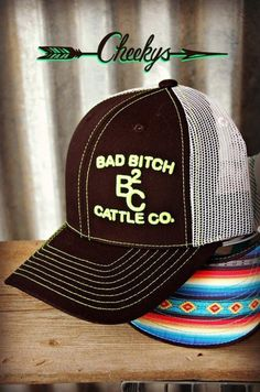 85387fb1d8b BB Cattle Company Black   White Serape Cap with Lime Embroidery