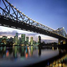 Brisbane bridge better known as the Story Bridge at night