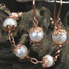 Faceted CFW Pearl Necklace and Earring Set Long Copper Chain | bohowirewrapped - Jewelry on ArtFire
