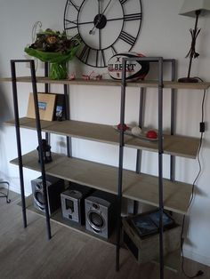 Ikea hack using the LERBERG shelves. This blog post is in French, but the photos are helpful to illustrate the idea.