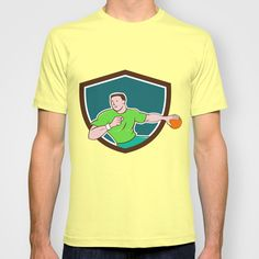 Handball Player Throwing Ball Crest Cartoon T-shirt. Illustration of a handball player throwing ball viewed from front set inside shield crest on isolated background done in cartoon style. #illustration #HandballPlayer