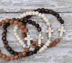 RESERVED Layering Stacking Cross Bracelets / Summer by BeadRustic, $16.00