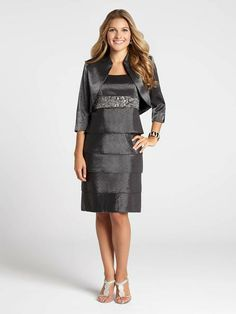 """Laura Petites: for women 5'4"""" and under. Get a completely chic look with this gorgeous two-piece set! A shimmering metallic fabric fashioned into an empire waist tiered dress gets a boost with a bead-embellished waist. A chic matching boler...4030103-8289"""