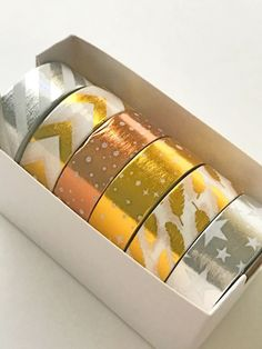 6 Gold Silver Washi Foil Tape Variety Masking Tapes by MinasPantry