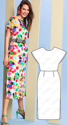 Dress with Side Slits Burda May 2019 Fashion Sewing, Kimono Fashion, Diy Fashion, Fashion Dresses, Make Your Own Clothes, Diy Clothes, Sewing Clothes, Burda Patterns, Dress Sewing Patterns