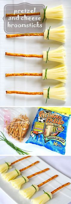 Cheese and Pretzel Broomsticks Halloween Treat: Cheese and Pretzel Broomsticks. These are so easy and such a cute idea for a Halloween themed treat! The post Cheese and Pretzel Broomsticks appeared first on Halloween Treats. Buffet Halloween, Halloween Dinner, Halloween Goodies, Halloween Desserts, Halloween Food For Party, Halloween Birthday, Halloween Kids, Halloween Recipe, Easy Halloween Treats