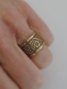 Ring  Victorian Flowers Vintage Brass  by chloesvintagejewelry, $24.00
