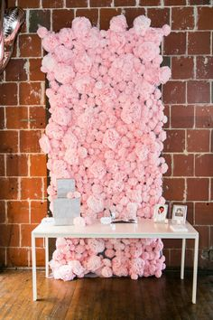 AMAZING wall of peonies behind cake table. Event Planning by A Big To Do Event / abigtodoevent.com, Photography by Ben Vigil Photographers / benvigil.com