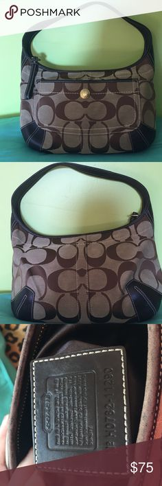 Coach brown purse! Beautiful coach purse. Preowned & in great condition. Zippered compartment on the inside, as well as 2 additional storage areas. There's a compartment on the outside for storage as well that buttons! This purse has slight wear marks on the strap and on the top part of the purse. Length roughly 9in. Width 13in. Strap drop from top of strap to beginning of purse 8in. Coach Bags Shoulder Bags