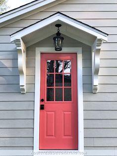 The Finished Studio Door Portico (Plus, One More Coral Door) - Addicted 2 Decorating® Awning Over Door, Exterior Doors For Sale, Garage Door Design, Front Porch Design, Front Door Overhang, Coral Door, Portico, Door Awnings, House Exterior
