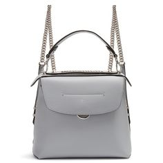 Fendi Back to School mini leather backpack (€1.660) ❤ liked on Polyvore featuring bags, backpacks, light grey, day pack backpack, light grey backpack, mini backpacks, mini leather backpack and fendi
