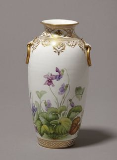 Minton and Co. Stoke on Trent 19th century Vase with Painted Violets
