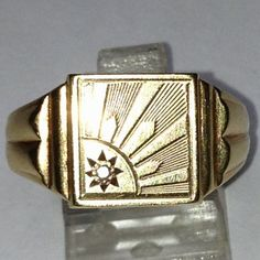 Vintage English Men's Signet Ring with Diamond