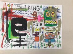 #art In style manner of Jean-Michel BASQUIAT painting Art Paper 18x24 Street Art Rare please retweet