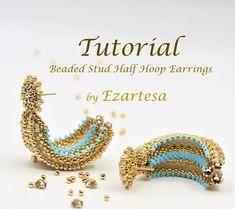 Beaded Stud Half Hoop Earring Tutorial with Gold and Blue Glass Seed Beads and Swarovski Rose Montees, Pattern by Ezartesa Wrap Bracelet Tutorial, Beaded Bracelets Tutorial, Beaded Wrap Bracelets, Earring Tutorial, Seed Bead Earrings, Beaded Earrings, Hoop Earrings, Seed Beads, Bracelets