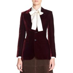 Saint Laurent 'Angie' Two Button Velvet Blazer ($2,490) ❤ liked on Polyvore featuring outerwear, jackets, blazers, bordeux, purple velvet blazer, blazer jacket, purple blazer jacket, yves saint laurent jacket and 2 button blazer