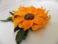 Felt Sunflower yellow green/ Wool Flowers/ Hand Felted by Marywool, $22.00