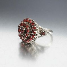 Victorian Bohemian Garnet Ring Sterling Silver Domed by boylerpf