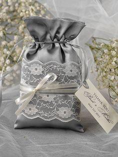 Custom listing 20 Lace Wedding Favor Bag Grey by forlovepolkadots