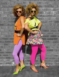 neon started in the 1980's. both women and men started wearing bright shiny colors during this era. they also wore a lot of ribbons, frills, lace and sequins. the more the better during this era.