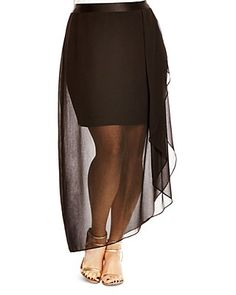 $City Chic Draped Illusion Skirt - Bloomingdale's