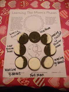 Brown, Party of Chaos!!! - Oreo Moon Phases. I like how they used the worksheet to put the cookies on instead of having cookies slip slide around on plates.