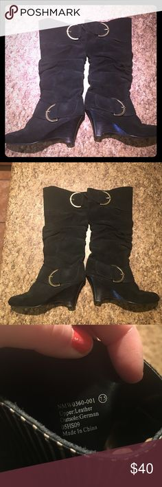 Naughty Monkey Suede Leather Pirate Boots 7.5 These have lite wear. They are leather. The leather looks really good still. The bottoms (soles) is where most the wear is. ( from ground contact) once spot on bottom has small gauge in it ( see pics) allot of life left!! Please don't expect new boots but don't expect abused ones either. I adore these boots but my feet grew!! Very nice quality boots!! Plz ask questions prior to purchase. Smoke free naughty monkey Shoes Heeled Boots
