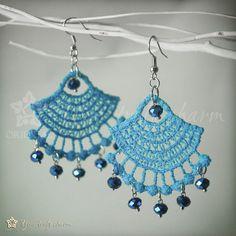 Fan Lace earrings with blue beads by Oriental by OrientalColour, $9.90