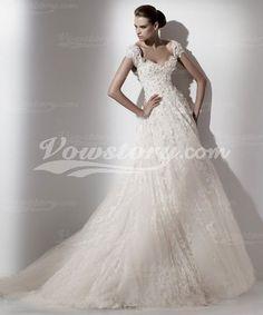 A-Line Brush Train Wedding Dress
