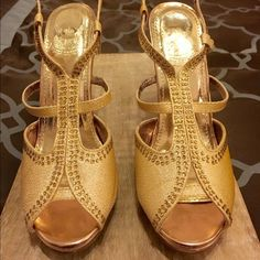 "Gold jeweled heels Gorgeous gold jeweled 4.5"" heels worn once. No missing stones. Alvaro Shoes Heels"