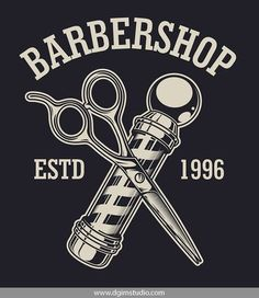 Old school style barbershop badge with crossed barber pole and scissors. Click to the link to find more barbershop elements, badges, emblems and designs. #vectorillustration #vector#illustration #design #dgimstudio #barber #barbershop #hairdresser #scisso Barber Shop Nyc, Old School Barber Shop, Barber Shop Interior, Barber Shop Decor, Mens Hairstyles With Beard, Hair And Beard Styles, Haircuts For Men, Barber Sign, Vintage Hair Salons