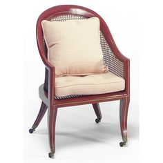 A PAIR OF REGENCY RED-PAINTED CANED BERGERES, CIRCA 1810