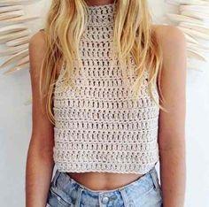 15 Ideas crochet top pattern crop for 2019 Débardeurs Au Crochet, Crochet Style, Simple Crochet, Diy Dress, Top Pattern, Crochet Clothes, Pulls, Spring Summer Fashion, Passion For Fashion