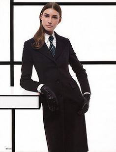 Women Ties, Suits For Women, Clothes For Women, Women Wearing Ties, Black Leather Gloves, Suit And Tie, Lace Bodysuit, Skirt Suit, Boss Lady