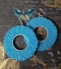 Hoop Earrings Baby Blues Seed Bead Hoop Earrings by WorkofHeart
